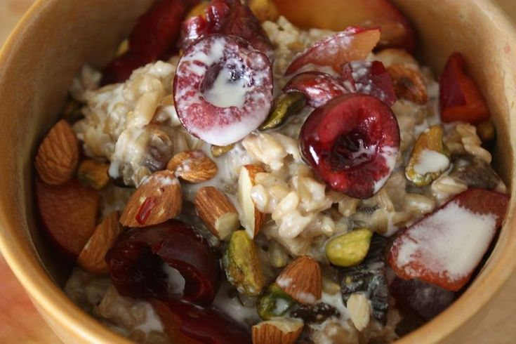 Whole Oat Groats with Cherries, Plums, Pistachios & Homemade Almond Milk recipe on Food52