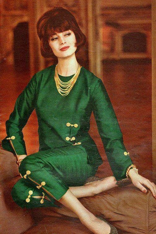 Marie-Helene Arnaud in green silk shantung by Chanel, 1960