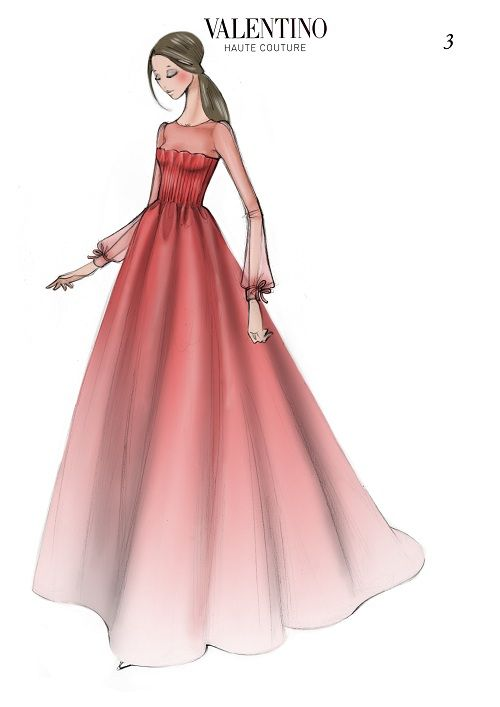 The original sketch for Livia Firth's Valentino Oscar gown.