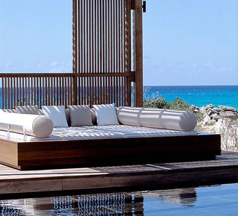 AMANYARA lounging sala at the swimming pool. #amanyara #turks #caribbean #island #travel #secret #escapes amanyara.com