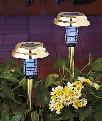 2-IN-1 SOLAR STAKE LIGHTS & FLYING INSECT / MOSQUITO ZAPPER - BRASS FINISH - SET OF 2