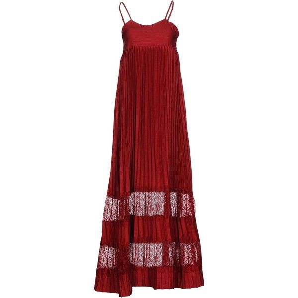 Scee By Twin-set Long Dress ($150) ❤ liked on Polyvore featuring dresses, maroon, long red dress, lace slip dress, long dresses, lace dress and red slip