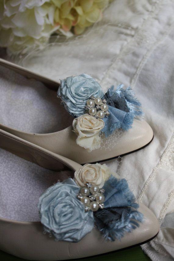 Wedding or Dress Something blue rolled rosette shoe by kgdesign, $24.50