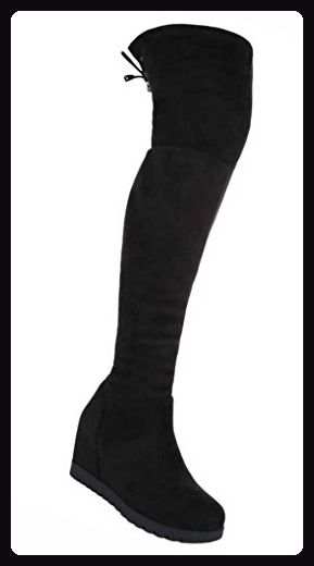 Stiefel Schuhe Damen Keil Wedges Overknee 1531 Schwarz 37