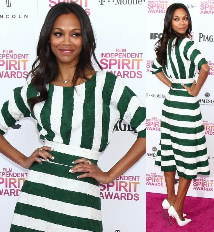Zoe Saldana super comfortable in her green-and-white striped Dolce & Gabbana dress