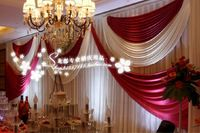 Luxury white and red Wedding Backdrop \ Stage Curtain 10ft*20ft