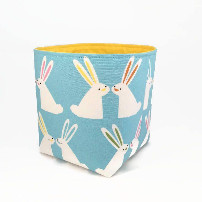 Bunny storage basket, Fabric bin, Nursery storage basket