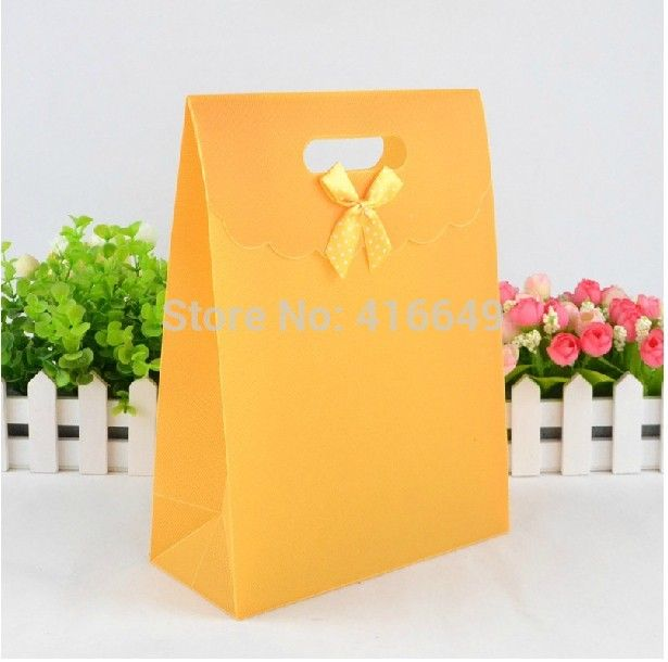 40 pcs/lot 16 x 12 х 6 см желтый пластик с атлас бант свадьба ювелирные изделия упаковка сумки, Nice подарок сумки
