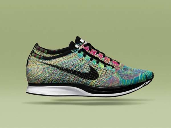 Rainbow-Colored Runners - Nike's Flyknit Racer and HTM Shoes are Vibrantly Knitted Fashion Styles