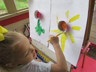 Cupcake flower easel painting