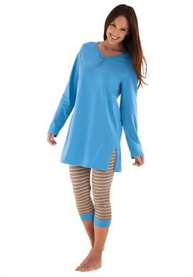2-piece capri legging pj set by Dreams & Co.® | Plus Size Pajamas - Sets | Woman Within