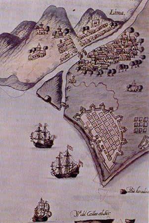 Lima y el puerto fortificado de El Callao (detalle de una carta de marear)