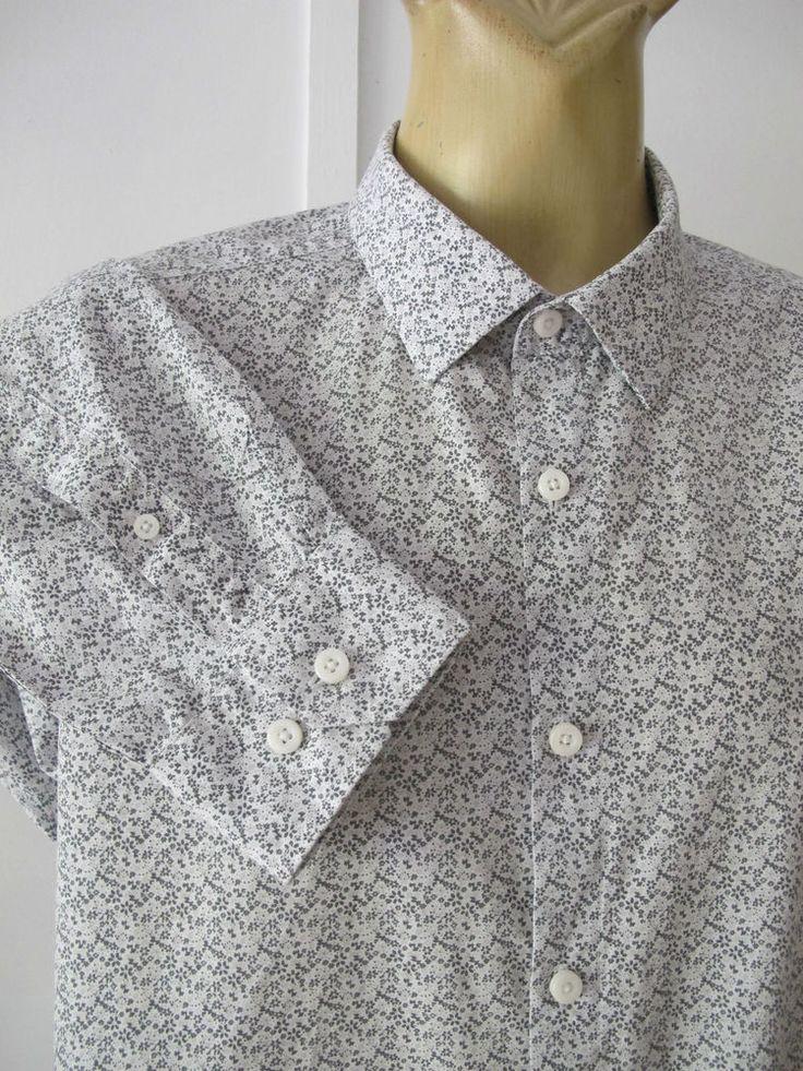 SHIRT Long sleeve Tiny floral print COTTON blaq Sz XXL Hipster Casual Business