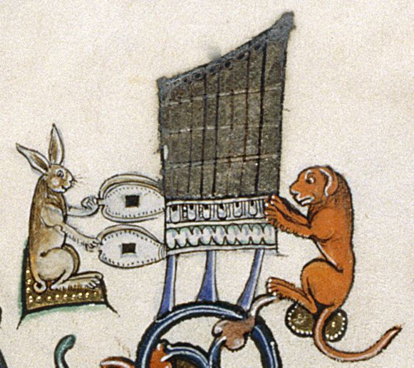 Gorleston Psalter - 106v:  detail of a marginal scene of a rabbit and another animal playing music