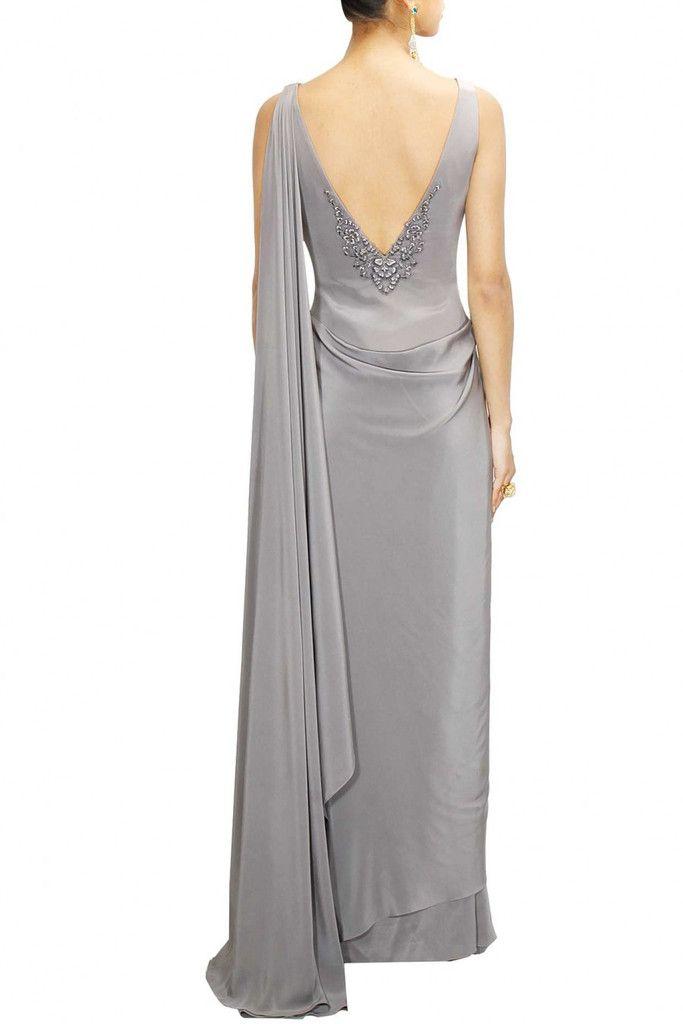 Grey Colour Saree Gown