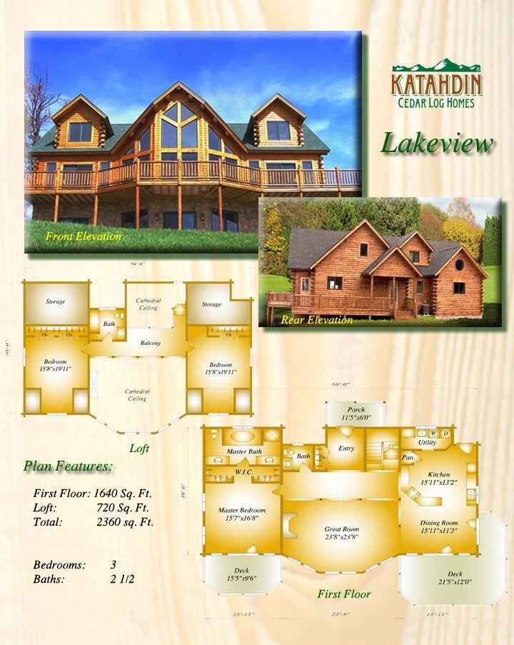 Log Home Plans - Katahdin Cedar Log Homes - Lakeview Floor Plan - Log Home Plans.com