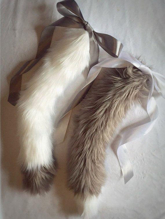 Indecisive Kitten Set: White & Smokey Grey Kitten Play Tails from Kitten Enchantment