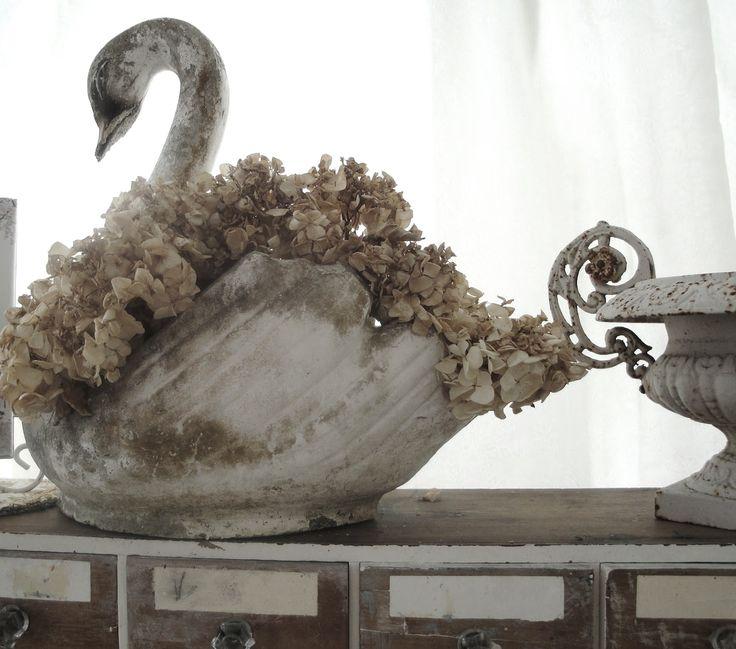 Antique french concrete swan planter rustic charm french country home - Concrete swan planter ...
