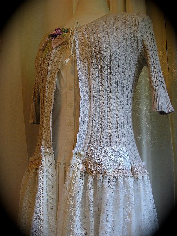 Shabby Sweater Coat, handmade altered couture, lace fabric lace embellished.