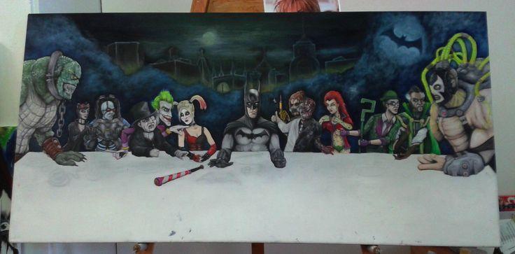 Work in progress oil painting. Batmans Last Supper.