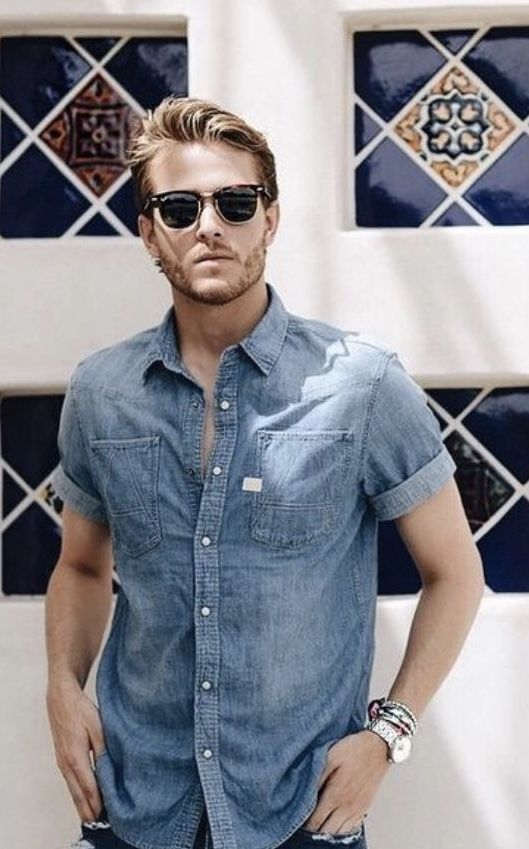 iamgalla - with a summer combo idea with a denim short sleeve shirt rayban  sunglasses wrist accessories silver banded watch  summerstyle   summeroutfits ... b05f7d1d03