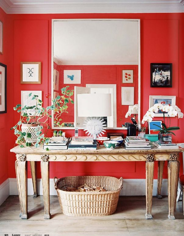 .London Home, Wall Colors, Red Wall, Redwall, Interiors, Lonny Magazines, Cath Kidston, Red Room, Home Offices