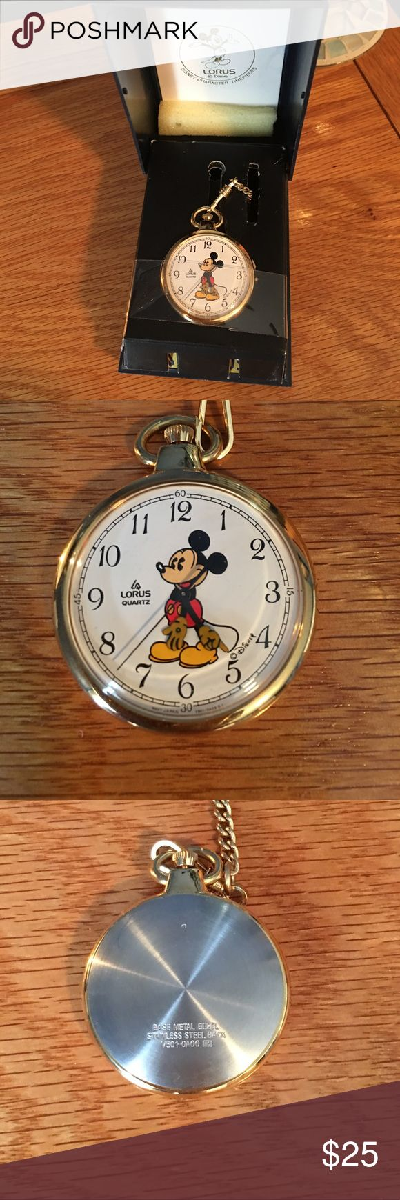 Mickey Mouse pocket watch Vintage Mickey Mouse pocket-watch.  Purchased probably 25 yrs ago.  I honestly don't remember ever wearing.  New battery installed.  Pristine condition. lorus Jewelry