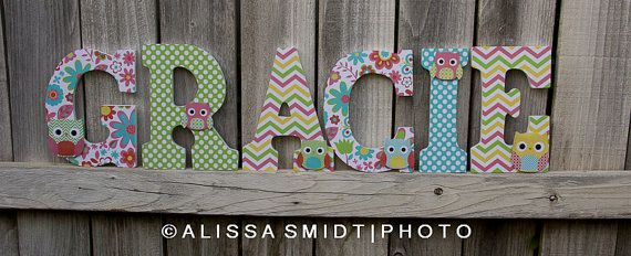 Custom Nursery Wooden Letters Baby Girl Nursery Owl Theme
