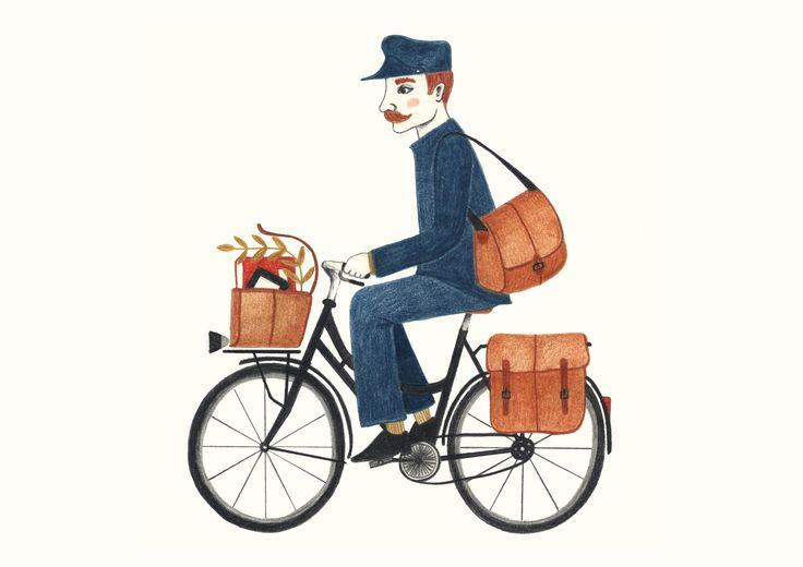 #allestudio #vintage #postman #mailman #bicycle #illustration