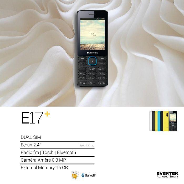 """Disponible en 6 couleurs & des mélanges, le E17 + dispose comme son frère d'un grand écran à 2.4"""" couleurs et d'un bon appareil photo arrière. C'est un téléphone simple d'utilisation, performant & solide.  Et comme c'est un Evertek, le E17 dispose évidemment de la technologie Double Sim et est plein d'options comme le Bluetooth, Torche, Radio FM, Lecteur MP3/MP4."""