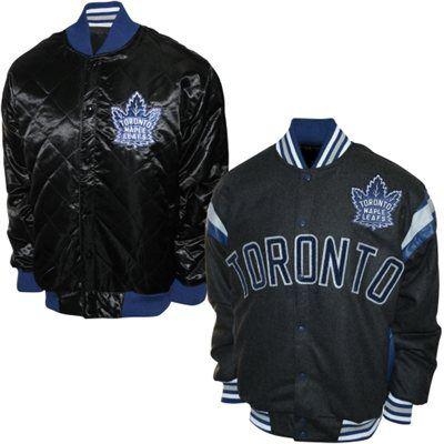 Toronto Maple Leafs Slant Go Reversible Wool Full Button Jacket - Black