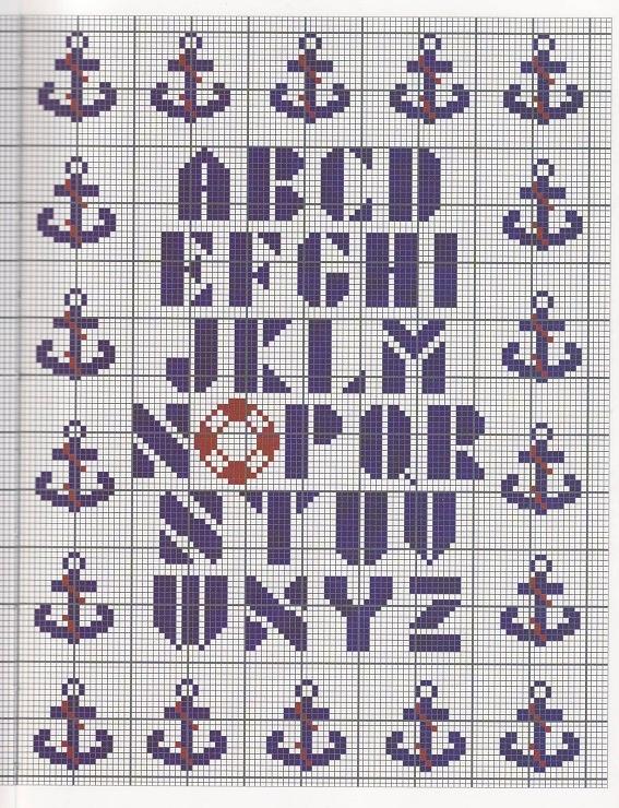 Nautical alphabet sampler cross stitch - free chart - free pattern