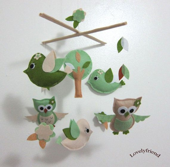 Baby Crib Mobile - Baby Mobile - Mobile - Crib mobiles - Felt Mobile - Nursery mobile -  Green Owls and Birds  design. $78.00, via Etsy.