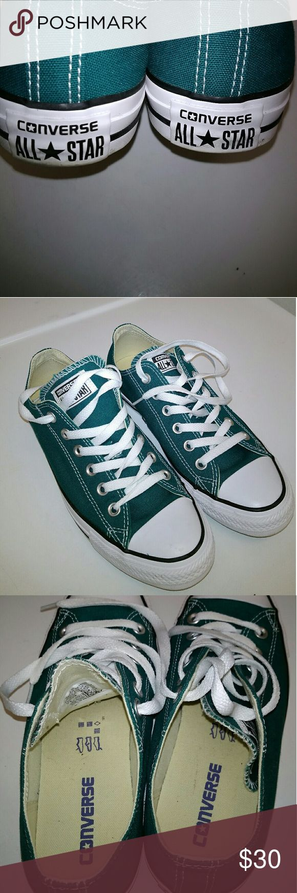 Teal converse worn once Teal converse Converse Shoes Sneakers