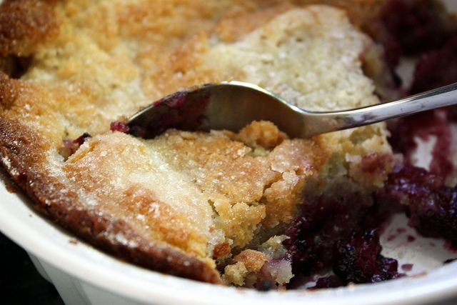 'Pioneer Woman's Blackberry Cobbler'  We've had a bumper crop of amazingly plump, juicy, sweet blackberries here this year.  So, I just used some to make this.  It's very good!  It's basically my mom's old 'Wash Day Peach Cobbler' recipe using blackberries instead of peaches -- easy, fast, and good!  via annalisesandberg @ Flickr