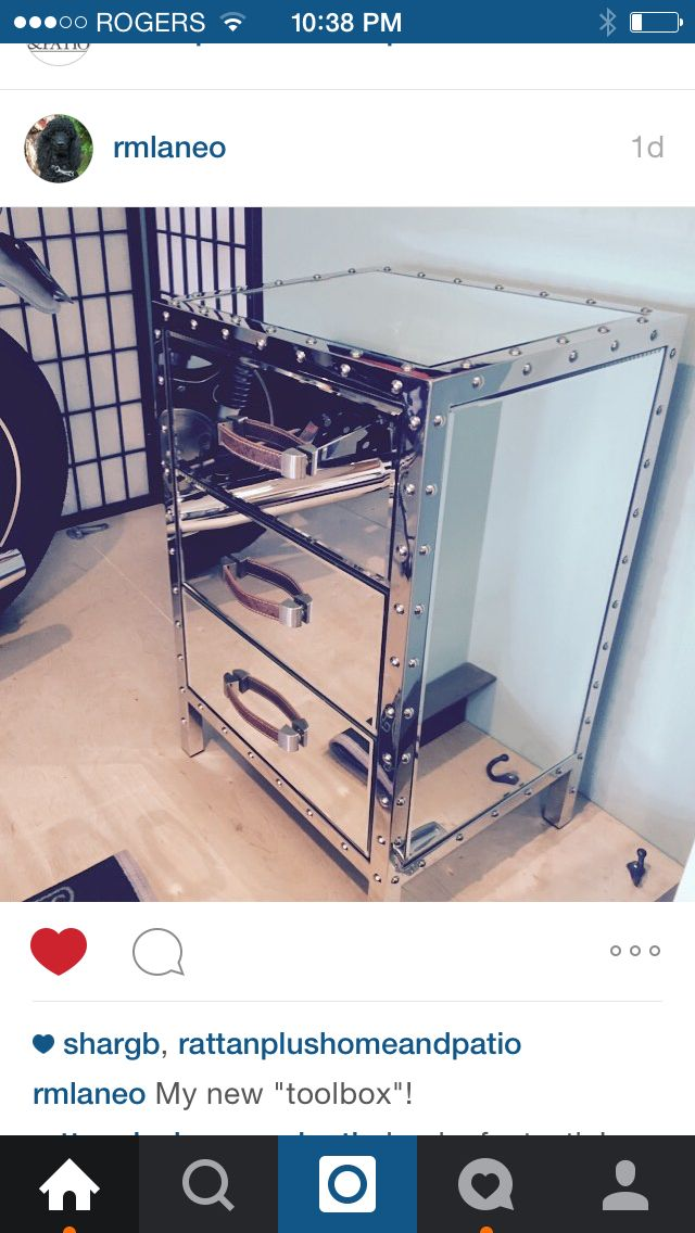Our customer posted this on Instagram. He added this end table with drawers to his bachelor suite as his new tool box:)
