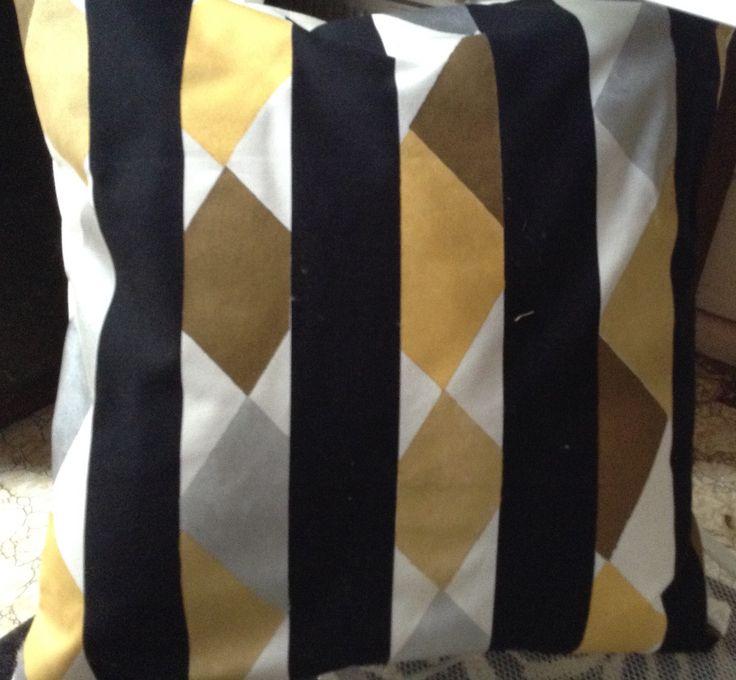 Heavy linen with metallic painted diamonds, cushion