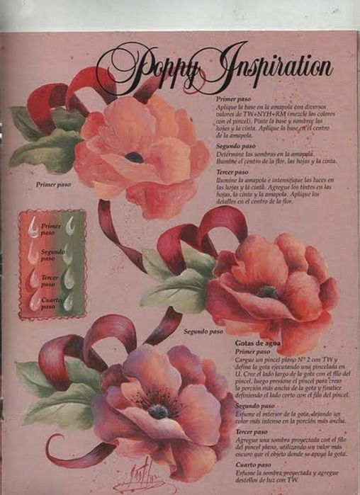 Painting a poppy, water drops and ribbon by Gretchen Cagle.