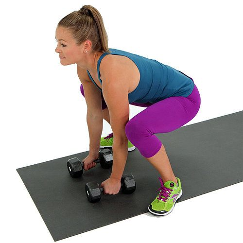 Try this wide squat, and you'll feel a burn in no time. The addition of a heavy weight increases the challenge so you can tone up quicker.   With a set of dumbbells on the ground, start standing with your feet wide and your back slightly arched. Push your hips back to lower to a deep squat until your thighs are parallel to the floor. Without rounding your spine, grab the weights keeping your weight in your heels, straighten your knees, and come to a standing position.  Lower back down until…