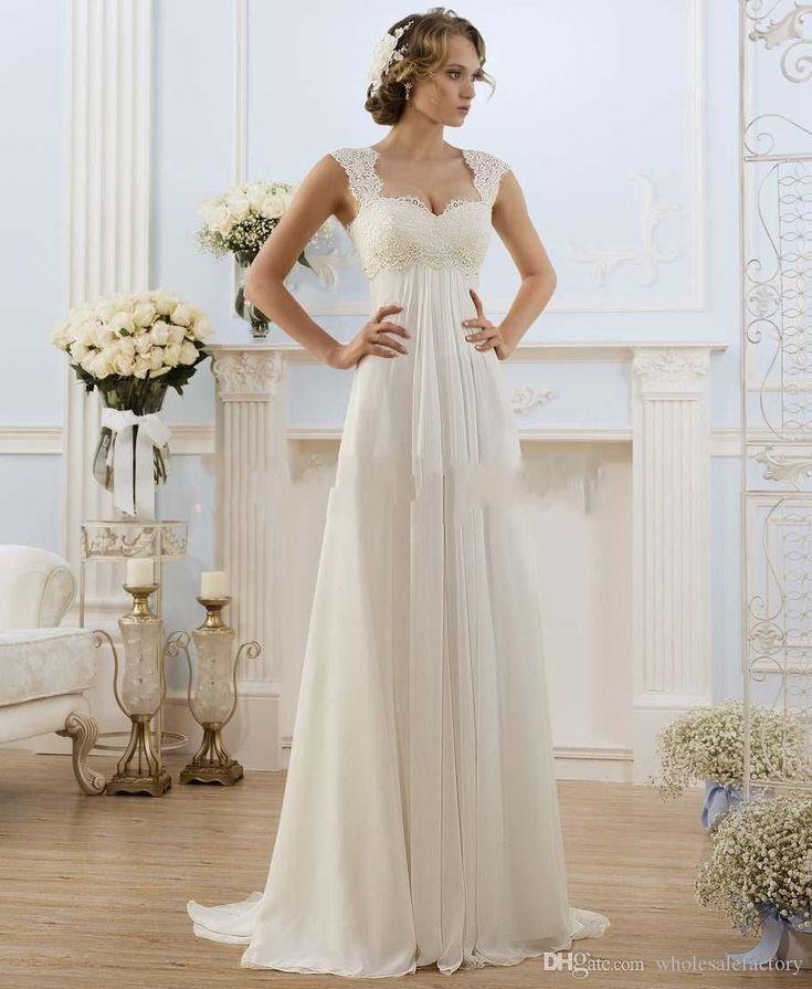 Rabatt 2017 Romantische Sommer Chiffon Brautkleider Lace Top Flügelärm … – Tops Wedding Dresses