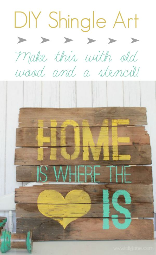 DIY project. Home is where the heart is wooden sign. Would be a cute Valentine's Day gift for a friend.