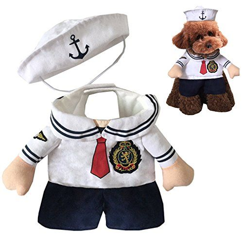 EXPAWLORER Dog Christmas Costume Navy Suit with Sailor Hat for Holiday Small >>> You can get additional details at the image link. #DogCostumes
