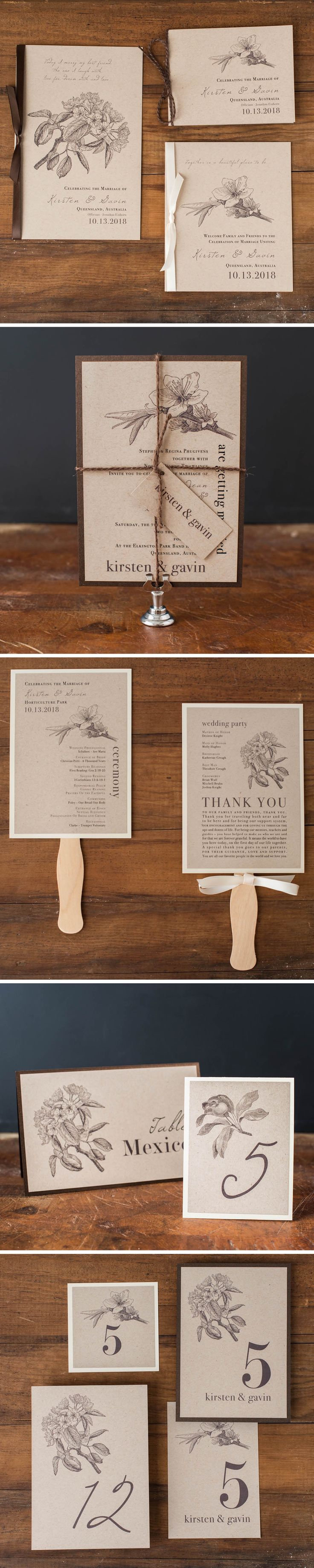 From rustic ceremony fans to the complete invitation set, these Rustic Magnolia stationery pieces will perfectly complement your rustic romantic wedding. View all matching pieces at www.beaconln.com.