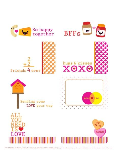 """Love labels and tags. """"BFF's, So happy Together, Sending some love your way, Hugs & Kisses XoXo"""", etc.   free printable"""