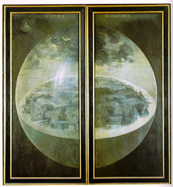 Hieronymus Bosch. Creation of the World. Outer wings of the triptych Garden of the Earthly Delights. c.1504-1510. Grisaille on panel. Museo del Prado, Madrid, Spain