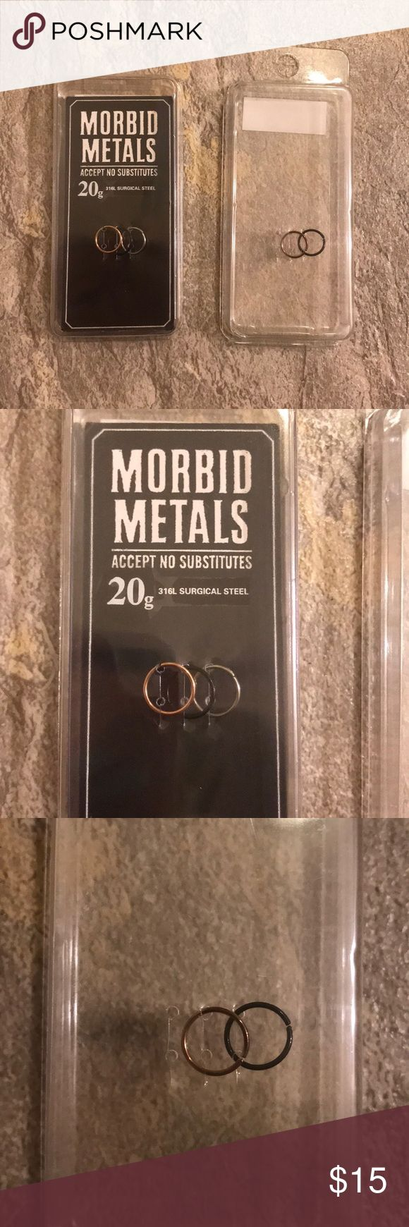Morbid Metals nose rings 20g surgical steel nose rings! 5 of them not needed and only tried one on, doesn't fit my nose right. Morbid Metals Jewelry