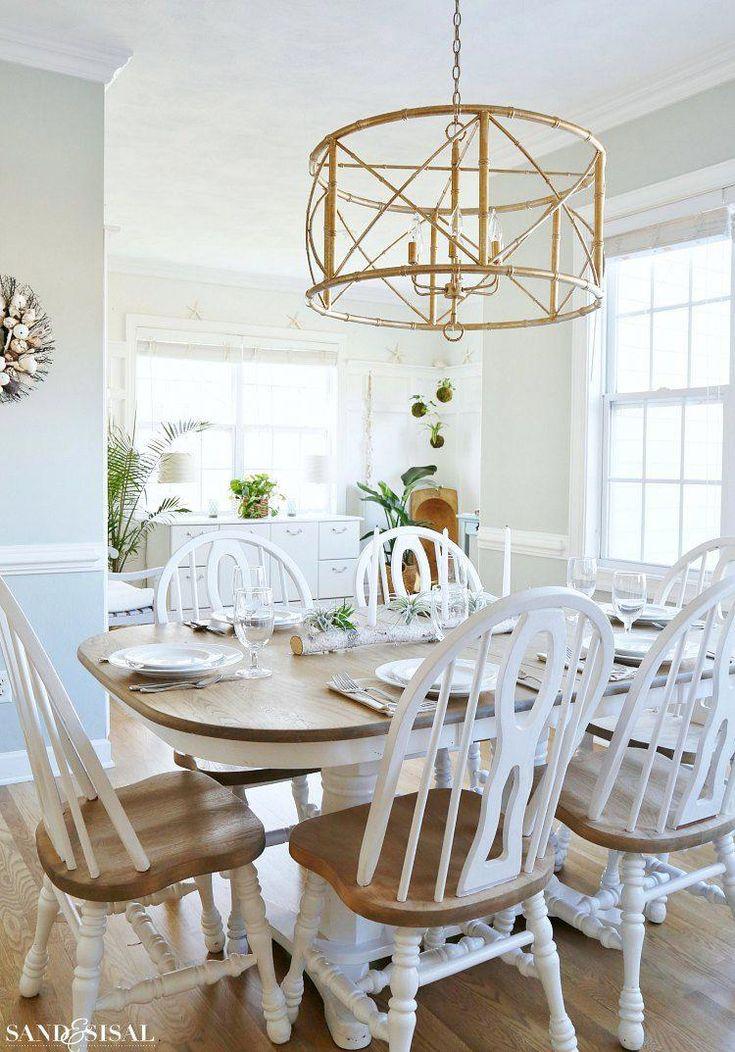 coastal kitchen table gold bamboo chandelier Ballard  ...