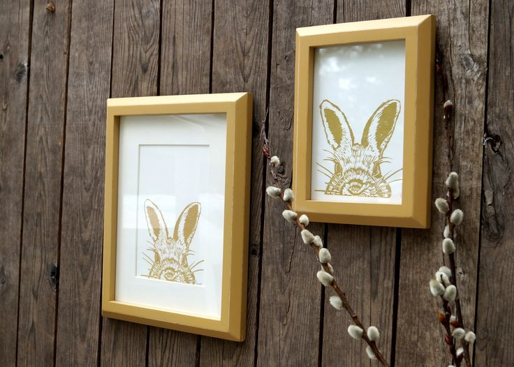 Framed Print 8x10 - golden boy rabbit in hand painted frames