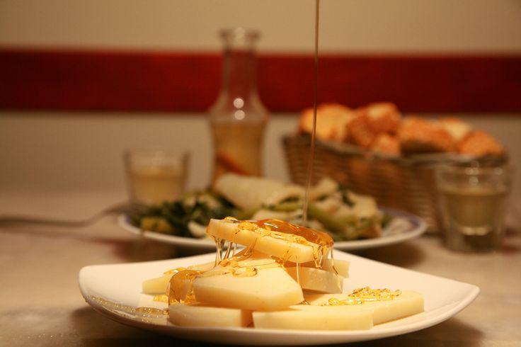 #Γραβιέρα #Κρήτης με #Μέλι και Σπιτική #Ρακή ;-) #Graviera #Cheese from #Crete with #Cretan #Honey and #Homemade #Raki ;-) #CretanCuisine #ΚρητικήΚουζίνα