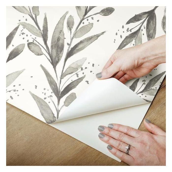 Olive Branch Peel Stick Wallpaper In Charcoal By Joanna Gaines For Y In 2021 Peel And Stick Wallpaper Olive Branch Magnolia Homes